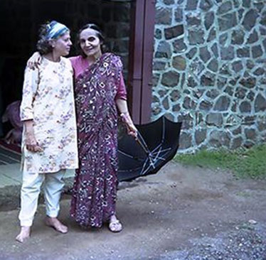 Adele with Mehera Irani at Meher Baba's Samadhi / Tomb, Meherabad, India
