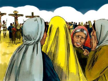Plusieurs femmes se trouvaient au pied de la croix au moment de la mort de Jésus, trois d'entre elles s'appellent Marie !  Ces femmes sont Marie, la mère de Jésus ; Marie de Magdala ; Marie la femme de Clopas et Salomé.