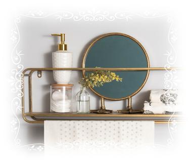 Badezimmer, Seifenspender, Spiegel, Gästehandtuch, Handtuch, Regal