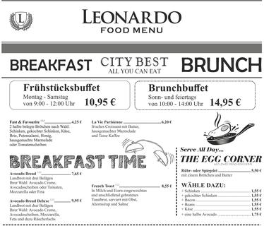 Cafe Leonardo© - SundayBrunchBuffet jeden Sonn- und Feiertag ab 10 Uhr