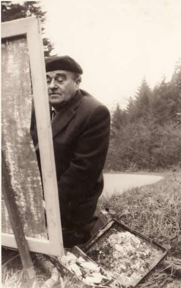 Erwin Bowien, painting in the Black Forest, ca.1965