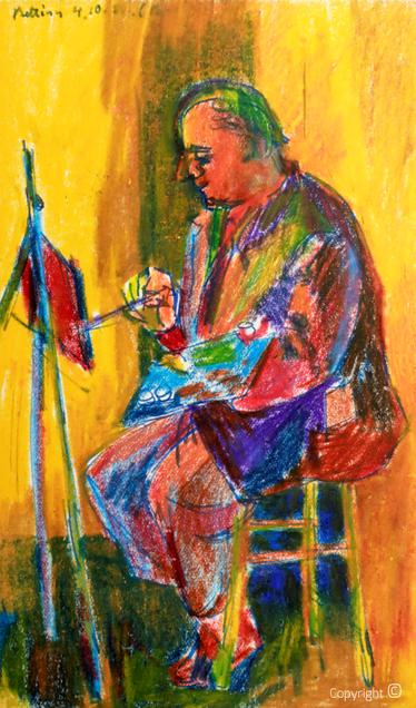 Bettina Heinen-Ayech (1937-2020): Erwin Bowien beim Malen, 1956