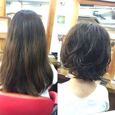 横浜の無責任美容師☆ロングからショートへふわふわスタイルに気分転換♪