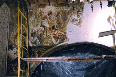 Pintura al fresco, pintura de entidades religiosas, murales religiosos, pintor católico