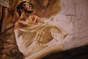 Pintura al fresco. Frescos contemporáneos, pintor muralista, pintor al fresco.