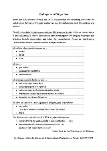 Umfrage Bürgerbus