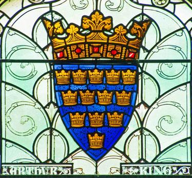 """Fiktives Wappen von König Artus, """"Große Halle"""" in Winchester, zweite Hälfte des 19. Jahrhunderts"""