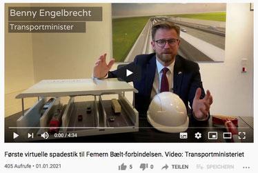 Los geht's: Virtueller erster Spatenstich des dänischen Verkehrsministers Engelbrecht zum Fehmarnbelttunnel. Screenshot: Christoph Schumann, 2021