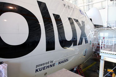 K+N was Cargolux's first business partner whose name and logo was painted on the hull of a Jumbo freighter  -  courtesy CV