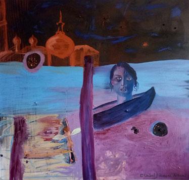 """""""Ensoñación"""", óleo sobre lienzo,  130 x 135 cm."""