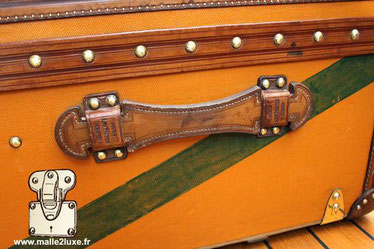handle restored vuitton trunk cowhide redone identically. Magnificent
