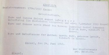 Helmuts Geburtsurkunde (eine nachträgliche Abschrift)