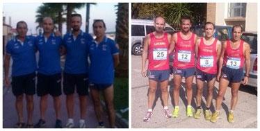 Los atletas del Club, antes y despues de la prueba malagueña.