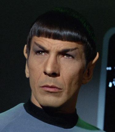 Mr. Spock trägt mit Stolz die Vulkanier-Einheits-Topf-Frisur.