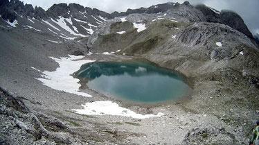 Steine Felsen Berge See Schnee Alpen Österreich Memminger Hütte Zams Gletscher