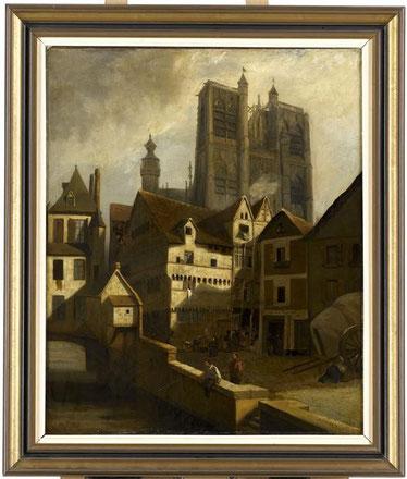 Dauzats, La Collégiale Saint-Vulfran vue du Guindal, Musée d'Abbeville, © Bréjat-RMN