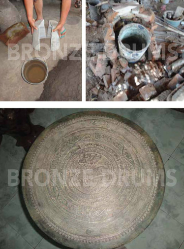 "Fig. 23. Moko production in Mojokerto in 2015 Moulding (a) Heating (b) Final ""buffalo"" tympanum (c)"