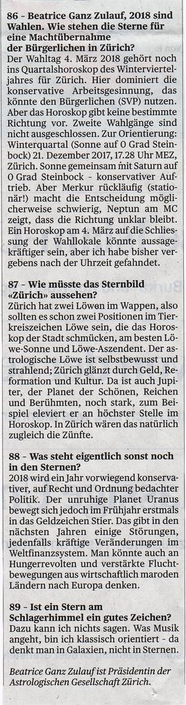 Beatrice Ganz, Fragen zum Jahreswechsel, TA 6.1.2018