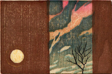「晴れた日、夕暮れ、月を待っている。」 木版画 10x15cm