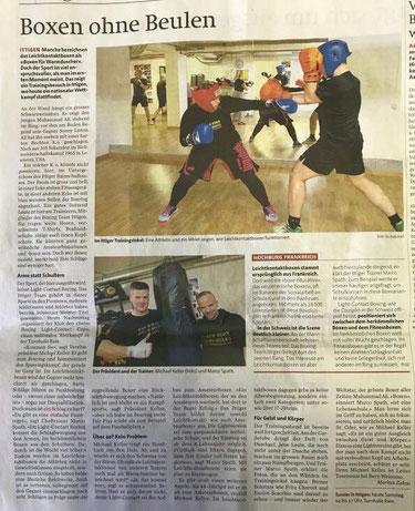 Bericht über das BOXING TEAM ITTIGEN und Light-Contact Boxing - Swissboxing LC-CUP 2017 - Berner Zeitung BZ SA 25.11.2017