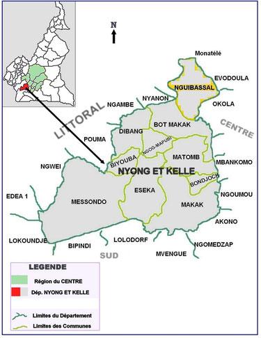 Le Département du Nyong et Kellé (en rouge) et les autres départements de la région du Centre (en jaune) sur la carte administrative du Cameroun