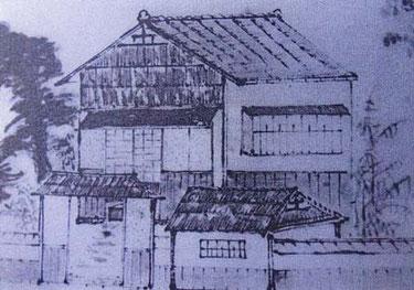矢部岩十郎の藩宅(梅田雲濱先生の生家:梅田雲濱写真小傳から)