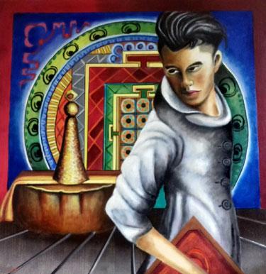 Contemporary Zen   Oilpainting   on canvas 1mx1m    Prijs; 650 euro inc btw Verwijzing naar de Tibetaanse Dzokchentraditie .