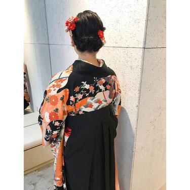 横浜・石川町、美容室Grantus,ヘアスタイル、アップスタイル、ヘアアレンジ、大正ロマンス、着付け、卒業式