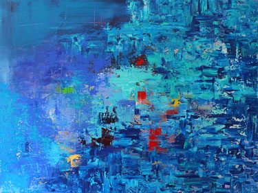 abstraktes Gemälde Burk Art, Szenario 120 x 90 cm