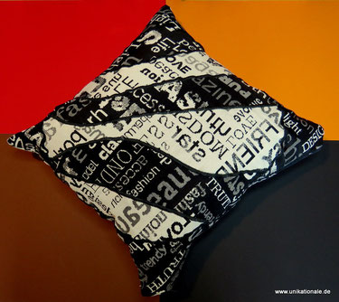 """Kissenhülle """"Schwarz auf weiß"""" aus Jacquardstoff, 38 x 38cm"""
