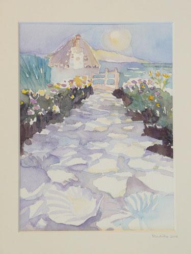 Studio in the moonlight ( Flora MacDonald's shieling on North Uist,sold) 26.5cmx32.5cm