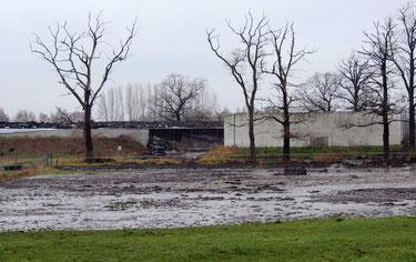 Auch auf einer Wiese ergoss sich das Substrat aus dem zerborstenen Behälter. In wie weit die Umwelt belastet ist, wird zur Zeit vom zuständigen Umweltamt geprüft.