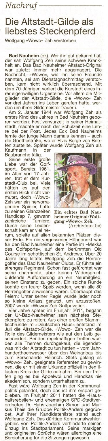 WZ 26.06.2014 Nachruf von Bernd Klühs, Foto: Eberhard Bogdoll