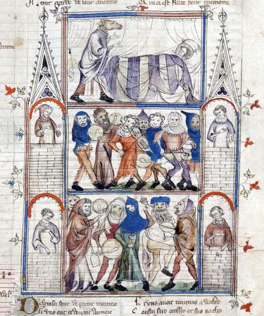 Scène de charivari tirée du Roman de Fauvel, composé par Philippe de Vitry au XIVe siècle.
