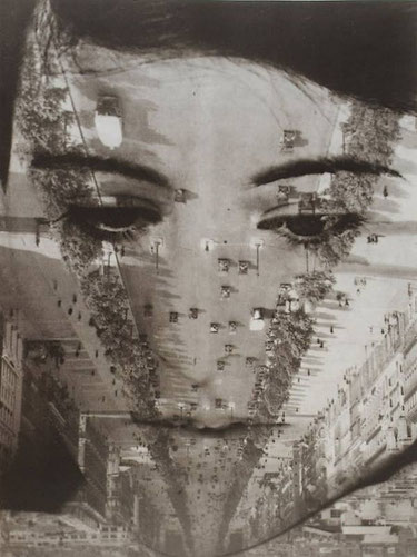 Aenne Biermann (1898-1933). Untitled (photomontage with portrait of Anneliese Schiesser and view of Paris), 1929.