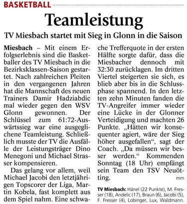 Artikel im Miesbacher Merkur am 15.10.2014 - Zum Vergrößern Klicken
