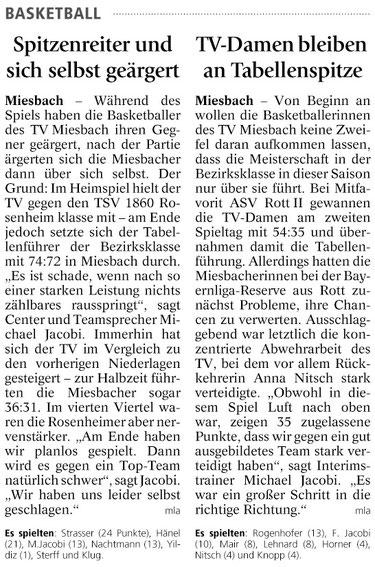 Bericht des Miesbacher Merkur am 7.11.2013 - Zum Vergrößern Klicken