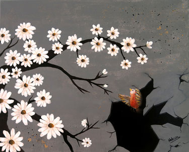 Japanese Nihonga painting daisies flowers in white a red bird flying from a dark hole into the light to the flowers surreal artwork for your home Asian art for sale