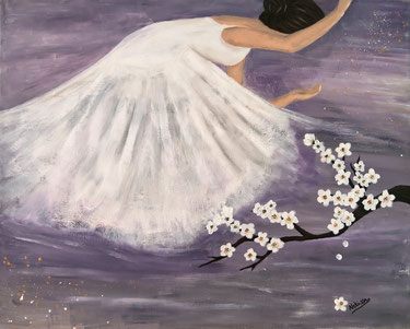 Japanese Nihonga painting a brown haired ballet dancer with white dress behind white flowers on violett background surreal artwork for your home art for sale