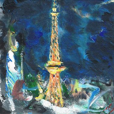 Funkturm (oder Eiffelturm?) . 20 x20 cm Acryl auf Leinwand . VERKAUFT