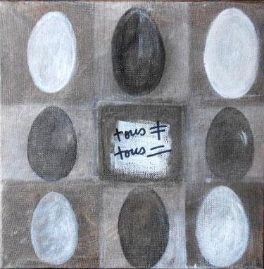 peinture d'oeufs sur toile
