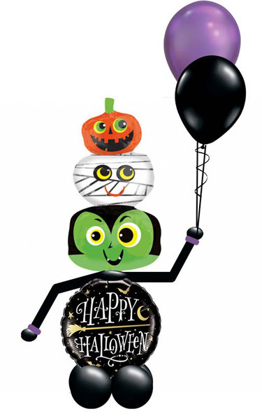 Ballon Luftballon Folienballon Dekoration Geschenk Halloween Party Deko Tischdeko Mitbringsel Versand Heliumballons Happy Halloween Monster Männchen gruselig Vampir Fledermaus Überraschung Dracula Geist Gespenst Kürbis Bouquet