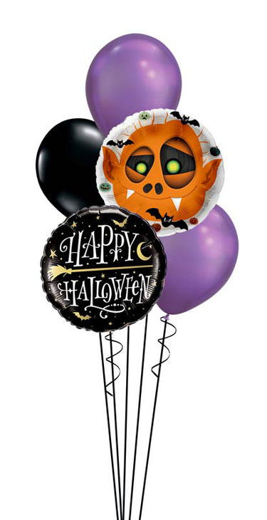 Ballon Luftballon Folienballon Dekoration Geschenk Halloween Party Deko Tischdeko Mitbringsel Versand Heliumballons Happy Halloween Monster Männchen gruselig Vampir Fledermaus Überraschung Bouquet