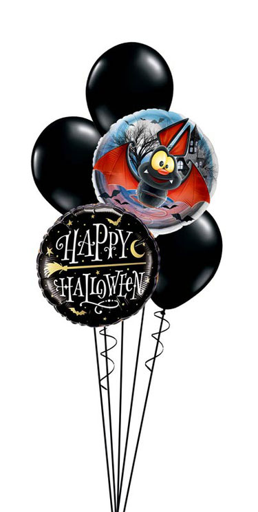 Ballon Luftballon Folienballon Dekoration Geschenk Halloween Party Deko Tischdeko Mitbringsel Versand Heliumballons Happy Halloween Monster Männchen gruselig Vampir Fledermaus Überraschung Bouquet witzig lustig