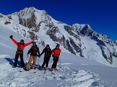 Vincent, J-Christophe, Alice et Edouard sur le glacier de la Lée Blanche