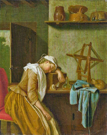Gemälde von Peter Jakob Horemans - The sleeping kitchenmaid (1765)
