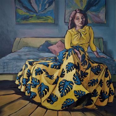 Galambos Rita, kortárs, festő, festmény, virágmintás ruha, sárga, kék, kék levelek, lány ruhában, hullámzó, akrilfestmény, fiatal hölgy, magyar képzőművészet, fiatal képzőművész, ausztria, feldkirch, vorarlberg, fine artist, hungary
