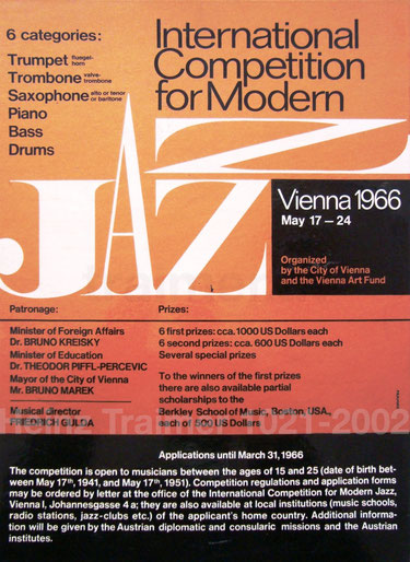 poster for the international competition for modern jazz vienna austria 1966