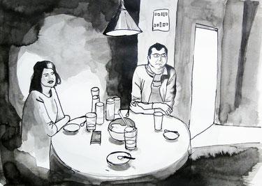 Åsa und Sven, 40 x 30 cm, Tinte, 2014.
