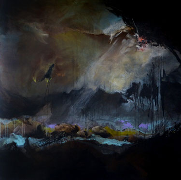 """""""Orage"""" Acrylique sur toile Dim: 150cmx150cm"""